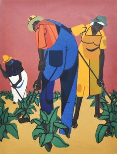"""""""Tobacco Farmers"""" (1947) by Robert Gwathmey (1903-1988), serigraph on paper, 13.75 x 10.5 inches, will be included in the show """"Mid-Century American"""" at Adam Cave Fine Art. Read more here: http://www.newsobserver.com/2012/11/03/2457044/asides-news-of-the-arts-in-brief.html#storylink=cpy1oovQK.Em.156.jpeg (364×480)"""