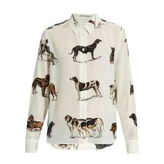 Stella McCartney Dog-print silk-crepe shirt ($515) ❤ liked on Polyvore featuring tops, white multi, polka dot shirt, loose shirts, polka dot top, dog shirts and white embellished top