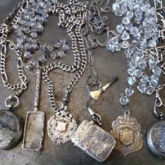 One-of-a-kind Vintage Jules sterling fobs, pocket watches with crystals & Victorian medals Pocket Watches, Victorian, Pendant Necklace, Wallet, Chain, Crystals, My Love, Vintage, Jewelry