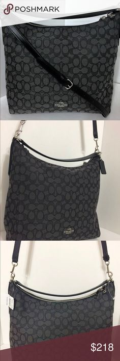 """NWT COACH : Celeste Convertible, Hobo Handbag COACH.. NWT.! Beautiful Smoke Gray With Black Signature Outline """"C"""" pattern throughout.  STYLE: Celeste Convertible Hobo Bag/ Jacquard.  Straps: long adjustable ,detachable leather strap, for wearing on shoulder/cross-body, or use short handle alone for satchel hobo style. Inside multiple pockets, 1 with zipper. Hardware: silver.  Outter bag has top double zip closure from both sides for easy versatile use. Bag has 1 black coach hangtag. See…"""