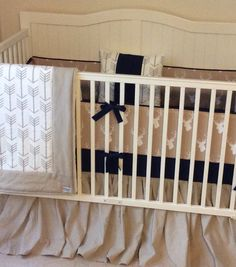 Rustic baby boy crib bedding in khaki and navy arrows and deer with washed linen  https://www.etsy.com/listing/198196268/crib-bedding-set-tan-and-navy-stag