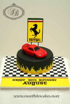 We could replicate the black fondant with flames around the bottom. Ferrari Sign, Ferrari Cake, Cakes For Boys, Boy Cakes, Birthday Treats, Birthday Cake, Black Fondant, Rice Crispy Treats, Holidays And Events
