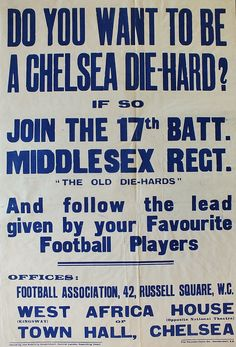 WW1 FOOTBALL FANS RECRUITMENT POSTER
