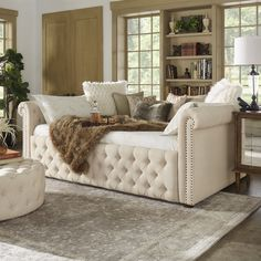 Knightsbridge Size Tufted Scroll Arm Chesterfield Daybed and Trundle by Signal Hills