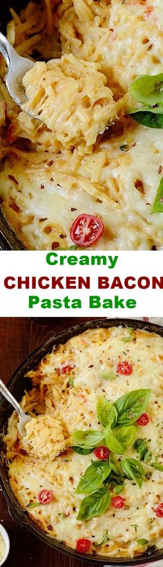 An easy, fuss-free creamy chicken bacon pasta bake that can be prepared within 30 minutes. It makes a hearty weeknight meal!