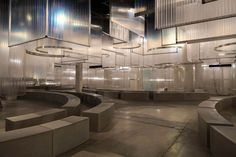 "AMO installs translucent ""stalactites"" above Prada Spring Summer 2016 catwalk Ss16, Pinterest Board, Catwalk Design, Interior Decorating, Interior Design, 3d Max, Lamp Design, Set Design, Best Interior"