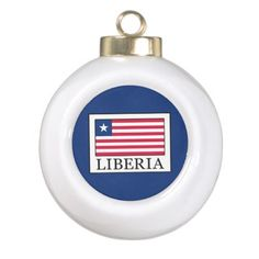 Liberia Ceramic Ball Christmas Ornament