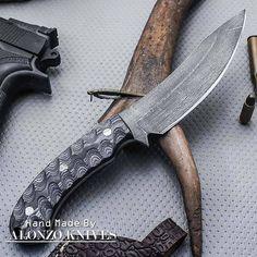 ALONZO KNIVES USA CUSTOM HANDMADE HUNTING STONE WASH 1095 KNIFE PAKKA WOOD 1378 #AlonzoKnives
