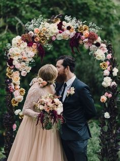 #floralarch #floralaltar #altar #flowers #rustic #weddingideas #DIYweddingideas #eternalbridal http://chicvintagebrides.com/index.php/inspiration-board/autumn-wedding-inspiration-board-blush/