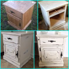 My DIY shabby chic nightstand. Furniture makeover, painted wood furniture, distressed paint! French style bedroom.