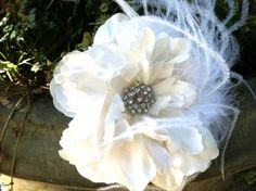 Ivory Wedding Hair Piece Clip - so in love with this.