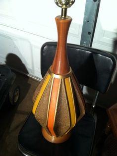 Mid Century Striped Pottery And Teak Lamp Eames Era Modern Retro