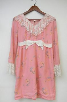 Vintage Dress 60s Pink Lace Bow Sheer Long by PinkCheetahVintage, $40.00