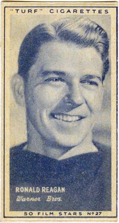 Ronald Reagan - Turf Cigarettes Film Star Card No. 27. Issued with packs of Turf Cigarettes in 1947.