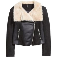 H&M Flying jacket in wool blend (105 BAM) ❤ liked on Polyvore featuring outerwear, jackets, black, short black jacket, short jacket, zip jacket, lined jacket and h&m jackets