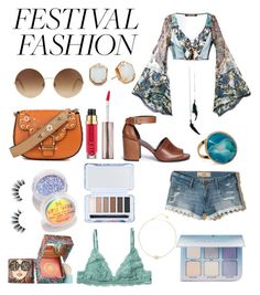 """""""Festival"""" by const0023 ❤ liked on Polyvore featuring Roberto Cavalli, Hollister Co., Victoria Beckham, Marc Jacobs, The Gypsy Shrine, Forever 21, Stuart Weitzman, Kendra Scott, Dara Ettinger and Chan Luu"""