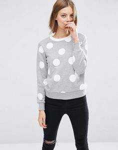 ASOS Sweatshirt In Polka Dot  With Contrast Tipping