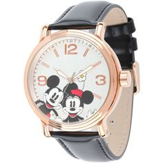 Disney Mickey Mouse and Minnie Mouse Black Leather Strap Womens Watch ($40) ❤ liked on Polyvore featuring jewelry, watches, disney, accessories, disney jewelry, water resistant watches, dial watches, leather watches and disney watches
