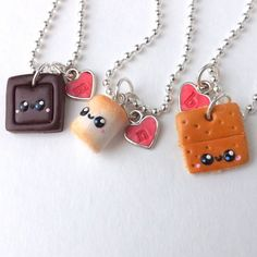 Best Friend Necklaces - Smores Best Friends - Personalized Necklace - Food Charm - Cute Necklace - Three Best Friends
