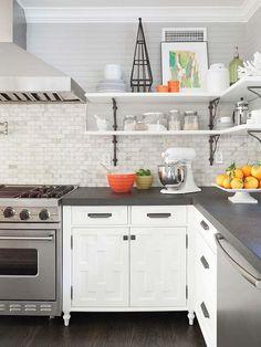 Storage And Organization , Open Shelving Kitchen Storage Solution : Open Shelving Kitchen With Cast Iron Brackets And Marble Backsplash