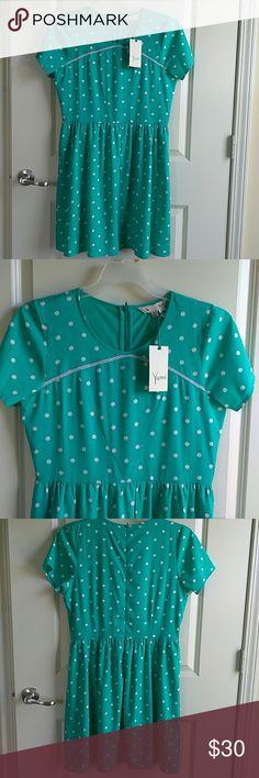 "NWT Yumi Stelle Mint Green White Polkadot Dress NWT Yumi Stelle Mint Green White Polkadot Dress Length 36"" Chest 19 Waist 16. Size UK 14          Us 8/10 Yumi Dresses Midi"