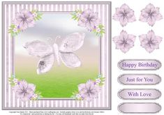 Sweet butterfly card topper decoupage on Craftsuprint designed by Toni Martin - Large topper for 8x8 cards featuring a sweet butterfly. Includes decoupage and a choice of sentiments. - Now available for download!