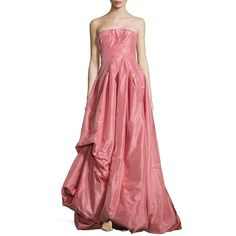 Oscar de la Renta Solid Strapless Gown (£1,630) ❤ liked on Polyvore featuring dresses, gowns, blush, oscar de la renta gowns, silk evening dresses, red dress, strapless gown and strapless evening gown