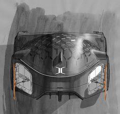 sketch voiture coupé corbusier renault
