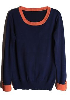 ++ blue patchwork round neck sweatshirt
