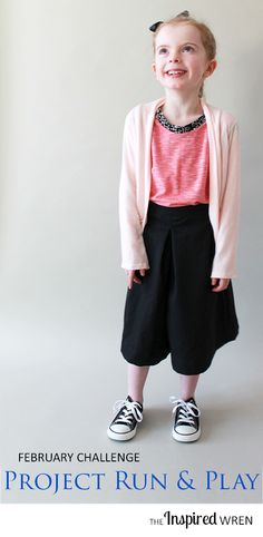 The January Challenge for Project Run & Play 2015: Color-blocked muscle tee paired with culottes and flowing cardigan | The Inspired Wren