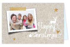 Originele kerstkaart versturen naar je vrienden en familie? Kerstkaart met foto kader, karton print op ondergrond, koper look sterren, plakband en sier krulletters!