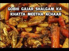 गोभी गाजर शलगमका चटपटा अचार।बिना धूप दिखाए सुखाये बनाये येGobhi Gajar Shalgam ka Khatta Meetha Achar - YouTube Sandwich Cake, Sandwiches, Chutney, Pot Roast, Pickles, Tasty, Meat, Chicken, Cooking
