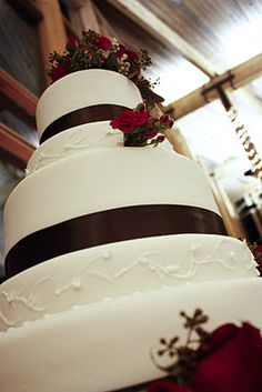 Red ribbon, fresh flowers, wedding cakes, 5 tier cakes, specialty cakes, http://tiered-expressions.com