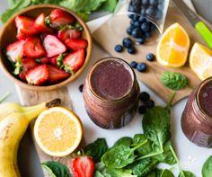 Strawberry, Banana, Blueberry, Spinach Smoothie (spinach, orange juice, water, strawberries, blueberries, banana)