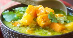 Butternut Squash in Green Curry features exciting flavors like cilantro, garlic ginger and green chiles. Great by itself or served over rice!