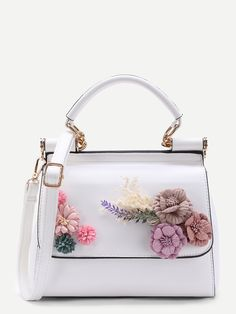 SheIn offers Applique Flower PU Shoulder Bag & more to fit your fashionable needs. Unique Handbags, Popular Handbags, Trendy Handbags, Fashion Handbags, Purses And Handbags, Fashion Bags, Cheap Handbags, Popular Purses, Prada Purses