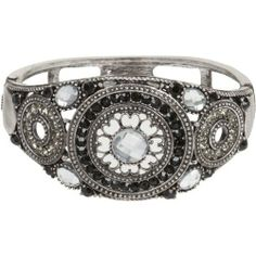 """GLAM Black and Clear Crystal Rosette Silver Tone Cuff Bracelet Heirloom Finds. $14.99. Bracelet Measures 1 1/2"""" Wide. Sophisticated Glamour. Arrives in Gift Box - Perfect for Giving or to Treasure. Wear with that Little Black Dress or Jeans and a T. Gorgeous Silver Tone Cuff Bracelet with Black and Clear Crystals"""