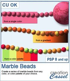 Although you can easily create beads from solid colors, adding a marbled texture would give them a more unique look.  This script will use either a solid color, a gradient or a palette of up to 6 colors, and add a random marble texture before creating a series of beads. You can generate up to 25 beads at the time and you can choose to resize each of them between 30 and 250 pixels.  Compatible with PSP8 and up. Graphic Projects, Marble Texture, Psp, Solid Colors, Script, Palette, Scrapbooking, Tools, Beads