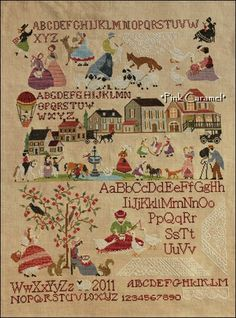 A Perfect World  A Mon Ami Pierre  Fabric : Lakeseide linens  40ct  Vintage Light Examplar  Thread : CC, GA, WDW