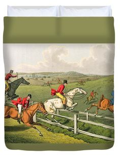 Fence Duvet Cover featuring the painting Fox Hunting by Henry Thomas Alken