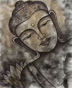 Original India Signed Painting of Buddha - Peaceful Buddha II Buddha Face, Buddha Zen, Gautama Buddha, Buddha Wall Art, Buddha Painting, Thai Monk, Laos, Cubist Paintings, Marquesan Tattoos