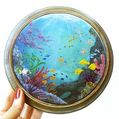 I love everything Joanna does.  This is one of her original pieces, beautiful! Porthole Wall Art Underwater Painting Tropical by rainbowofcrazy, $100.00