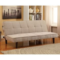 Futon Sofa Vexus Collection CM2707 Both stylish and functional, this sleek futon comes in four colors that range from the neutral gray or beige, to the more eye-popping teal or purple.  Futon Sofa Sale for $163