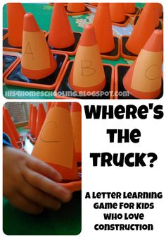 Where's the Truck? A Letter Learning Game for Kids Who Love Construction. A great game to reach out to children's interests as well as learning the alphabet. Letter Learning Games, Learning Games For Kids, Alphabet Activities, Language Activities, Toddler Activities, Education And Literacy, Preschool Literacy, Kindergarten, Construction Theme Preschool