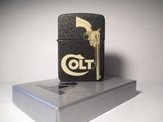 "Zippo ""Colt"" 1941 Replica Black Crackle, custom, deep laser engraving. ""God made people strong and weak. Samuel Colt made them equal""."