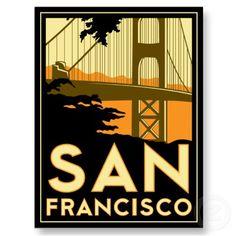 San Francisco Art Deco Poster Post Card by strk3