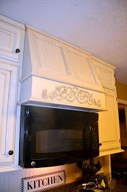 """Southern Inspirations: My """"fake"""" kitchen microwave hood. Isn't this creative and awesome? Kitchen Upgrades, Microwave Above Stove, Kitchen Range, Kitchen Vent Hood, Microwave In Kitchen, Updated Kitchen, Oak Kitchen, Kitchen Range Hood, Kitchen Vent"""