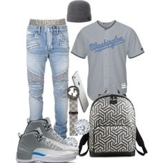 A menswear look from June 2016 featuring men's regular fit jeans, mens jerseys and versace men's underwear. Browse and shop related looks. Dope Outfits For Guys, Swag Outfits Men, Tomboy Outfits, Nike Outfits, Cool Outfits, Guy Outfits, Teen Boy Fashion, Tomboy Fashion, Streetwear Fashion