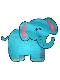 Baby Elephant Plastic Canvas Pattern Download from e-PatternsCentral.com -- This adorable baby elephant would look sweet on an infant's or child's bedroom wall.