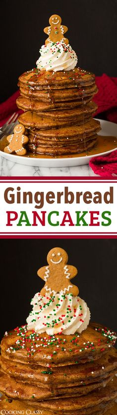 Gingerbread Pancakes - these taste JUST like a gingerbread cookie but in soft and fluffy pancake form! So good and perfect for Christmas time! christmas food ideas for dinner Christmas Brunch, Christmas Breakfast, Christmas Cooking, Christmas Time, Christmas Pancakes, Classy Christmas, Christmas Ideas, Christmas Gingerbread, Gingerbread Pancakes